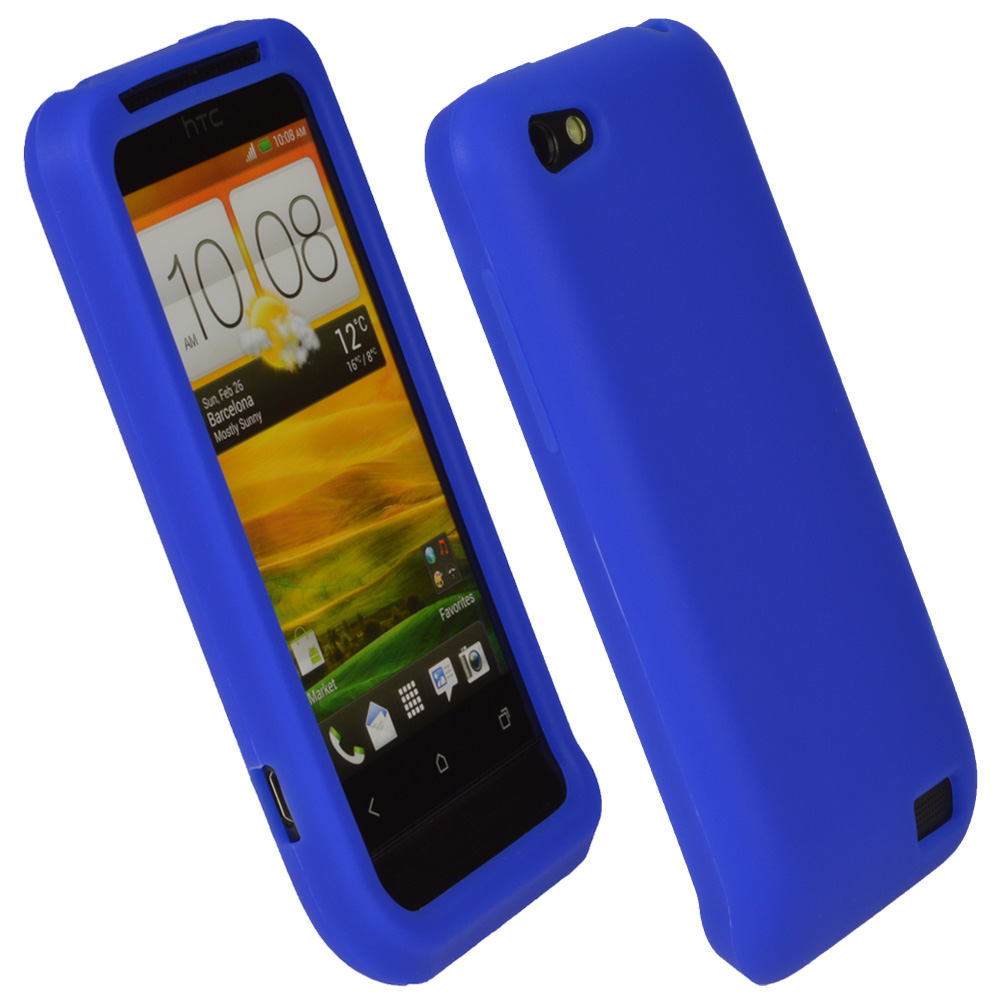 iGadgitz Blue Silicone Skin Case Cover for HTC One V Primo T320e Android Smartphone Mobile Phone + Screen Protector