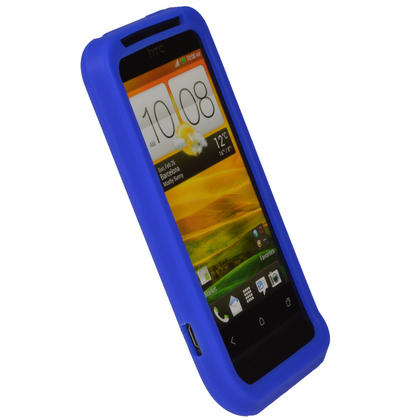 iGadgitz Blue Silicone Skin Case Cover for HTC One V Primo T320e Android Smartphone Mobile Phone + Screen Protector Thumbnail 2