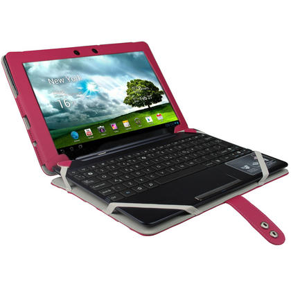 "iGadgitz Pink 'Guardian' PU Leather Case Cover for Asus Eee Pad Transformer & Keyboard Dock TF300 TF300T 10.1"" Tablet Thumbnail 2"