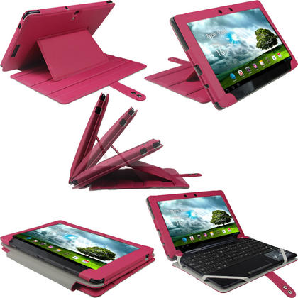 "iGadgitz Pink 'Guardian' PU Leather Case Cover for Asus Eee Pad Transformer & Keyboard Dock TF300 TF300T 10.1"" Tablet Thumbnail 1"