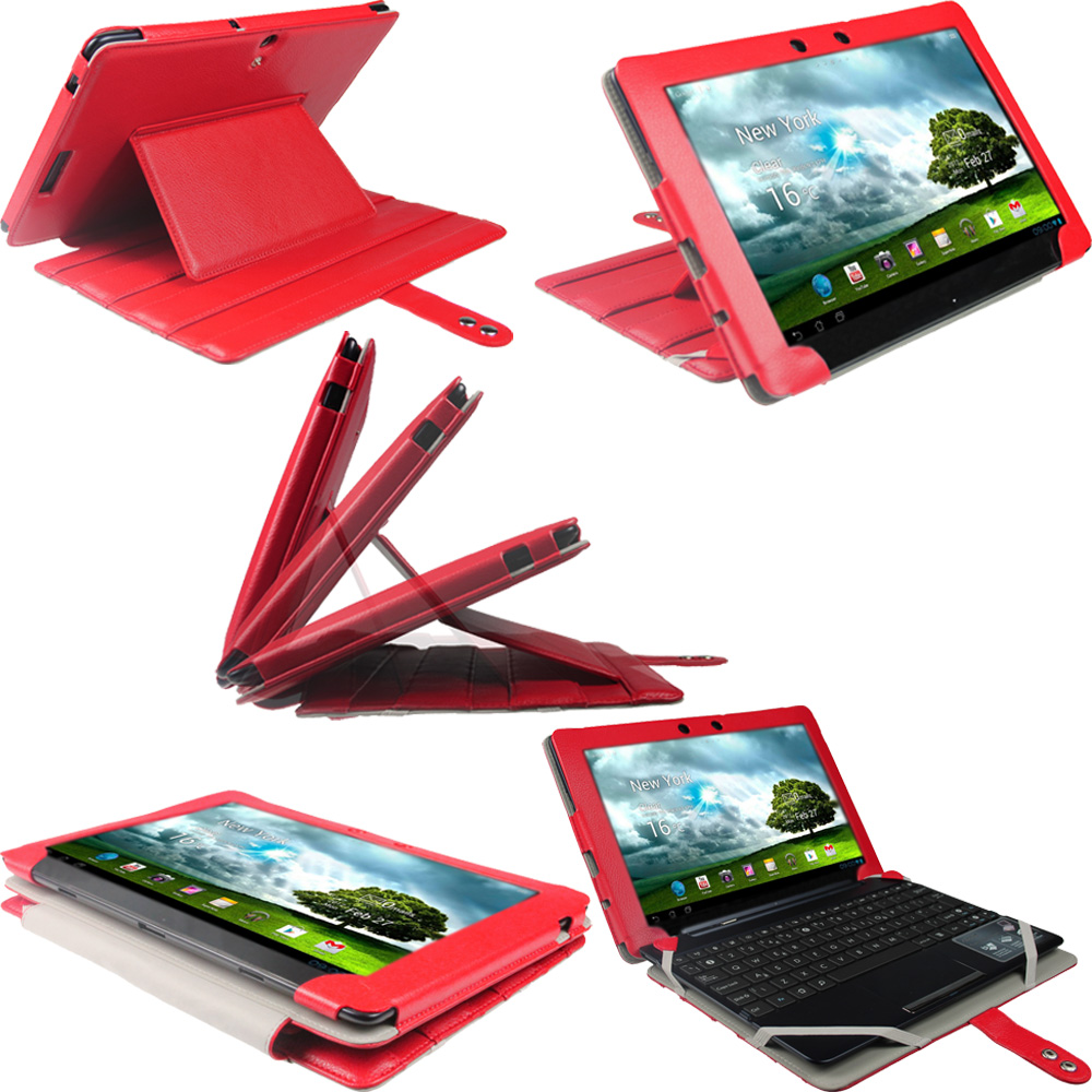 "iGadgitz Red 'Guardian' Genuine Leather Case for Asus Eee Pad Transformer & Keyboard Dock TF300 TF300T 10.1"" Tablet"