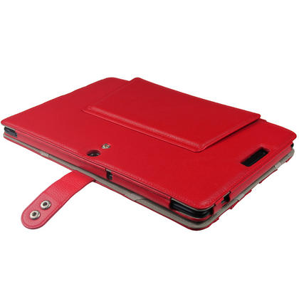 "iGadgitz Red 'Guardian' Genuine Leather Case for Asus Eee Pad Transformer & Keyboard Dock TF300 TF300T 10.1"" Tablet Thumbnail 5"
