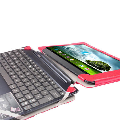 "iGadgitz Red 'Guardian' Genuine Leather Case for Asus Eee Pad Transformer & Keyboard Dock TF300 TF300T 10.1"" Tablet Thumbnail 6"