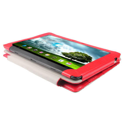 "iGadgitz Red 'Guardian' Genuine Leather Case for Asus Eee Pad Transformer & Keyboard Dock TF300 TF300T 10.1"" Tablet Thumbnail 4"