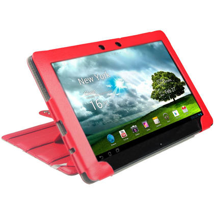 "iGadgitz Red 'Guardian' Genuine Leather Case for Asus Eee Pad Transformer & Keyboard Dock TF300 TF300T 10.1"" Tablet Thumbnail 8"