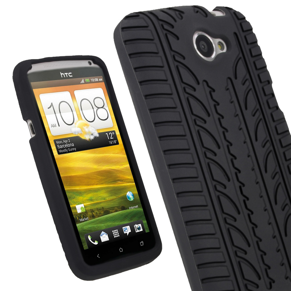 iGadgitz Black Tyre Tread Skin Case for HTC One X S720e & One X+ Plus + Screen Protector (NOT Suitable For HTC ONE M7)