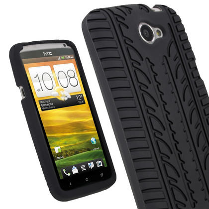 iGadgitz Black Tyre Tread Skin Case for HTC One X S720e & One X+ Plus + Screen Protector (NOT Suitable For HTC ONE M7) Thumbnail 1