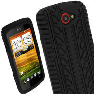 iGadgitz Black Silicone Skin Case Cover with Tyre Tread Design for HTC One S + Screen Protector