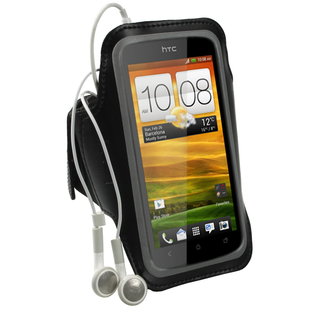 iGadgitz Black Reflective Anti-Slip Neoprene Sports Gym Jogging Armband for HTC One S Android Smartphone Mobile Phone