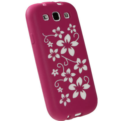 iGadgitz Pink & White Flowers Silicone Skin Case Cover for Samsung Galaxy S3 III i9300 + Screen Protector Thumbnail 3