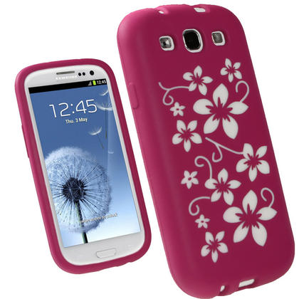iGadgitz Pink & White Flowers Silicone Skin Case Cover for Samsung Galaxy S3 III i9300 + Screen Protector Thumbnail 1