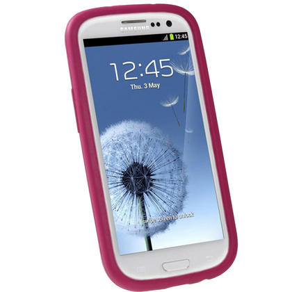 iGadgitz Pink & White Flowers Silicone Skin Case Cover for Samsung Galaxy S3 III i9300 + Screen Protector Thumbnail 2