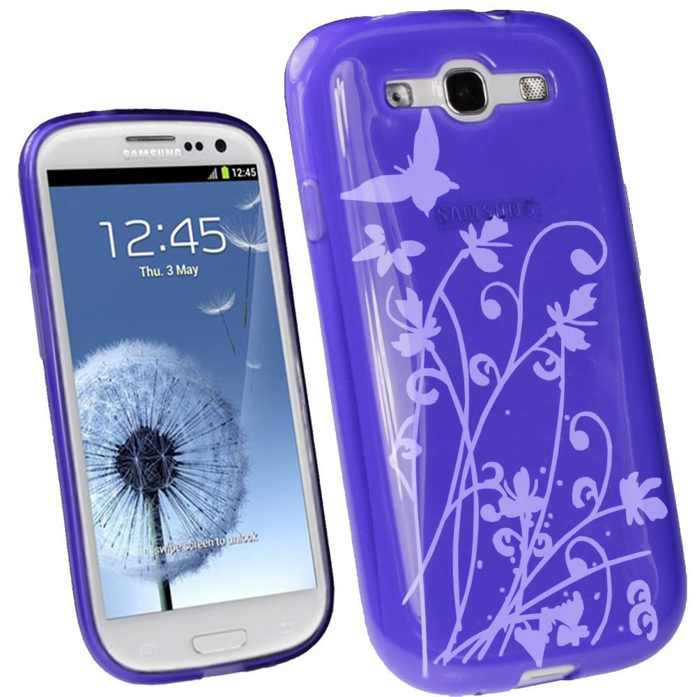 iGadgitz Butterfly Purple Gel Case for Samsung Galaxy S3 III i9300 + Screen Protector