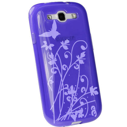 iGadgitz Butterfly Purple Gel Case for Samsung Galaxy S3 III i9300 + Screen Protector Thumbnail 3