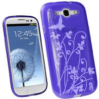 iGadgitz Butterfly Purple Gel Case for Samsung Galaxy S3 III i9300 + Screen Protector