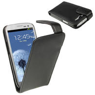 iGadgitz Black Leather Case Cover Holder for Samsung Galaxy S3 III i9300 + Screen Protector