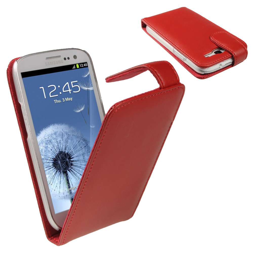 iGadgitz Red Leather Case Cover Holder for Samsung Galaxy S3 III i9300 + Screen Protector