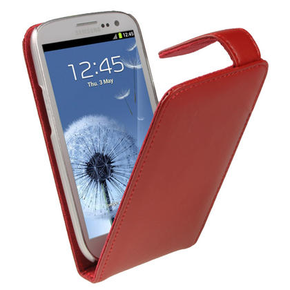 iGadgitz Red Leather Case Cover Holder for Samsung Galaxy S3 III i9300 + Screen Protector Thumbnail 4