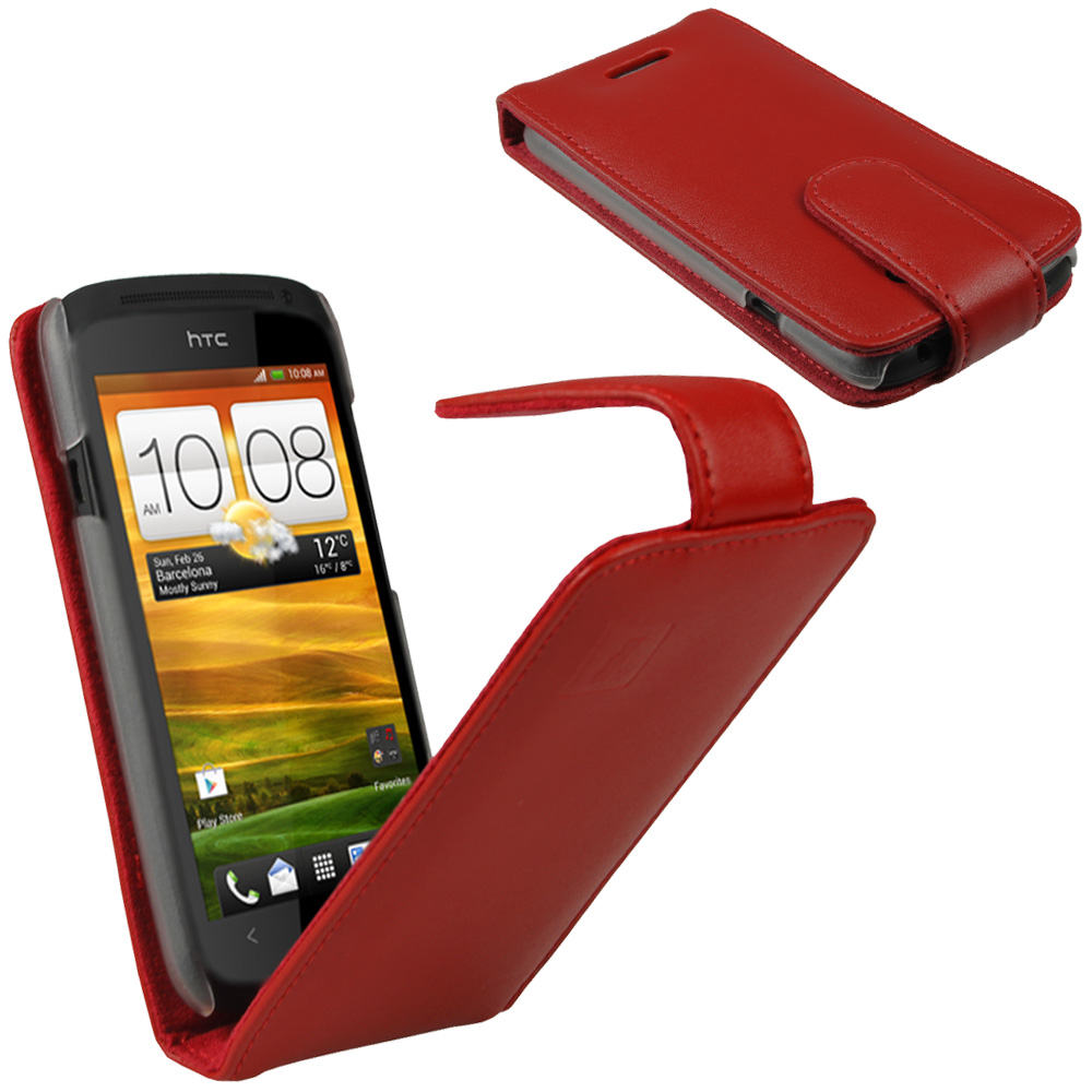 iGadgitz Red Leather Case Cover Holder for HTC One S Android Smartphone Mobile Phone + Screen Protector