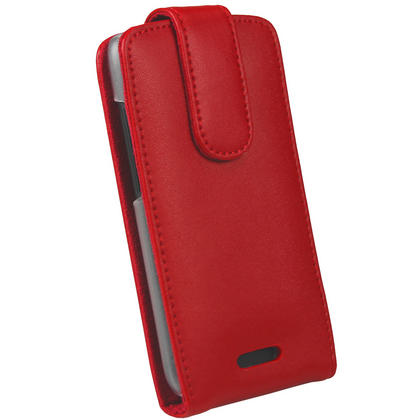 iGadgitz Red Leather Case Cover Holder for HTC One S Android Smartphone Mobile Phone + Screen Protector Thumbnail 3