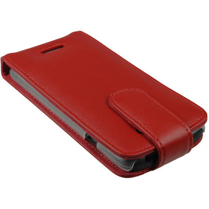 iGadgitz Red Leather Case Cover Holder for HTC One S Android Smartphone Mobile Phone + Screen Protector Thumbnail 4