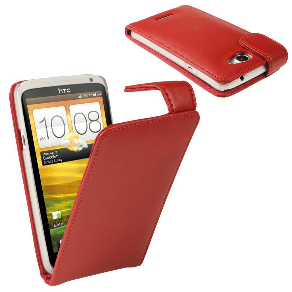 iGadgitz Red Leather Case for HTC One X S720e & HTC One X+ Plus + Screen Protector (NOT Suitable For HTC ONE M7)