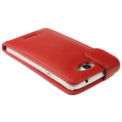 iGadgitz Red Leather Case for HTC One X S720e & HTC One X+ Plus + Screen Protector (NOT Suitable For HTC ONE M7) Thumbnail 4