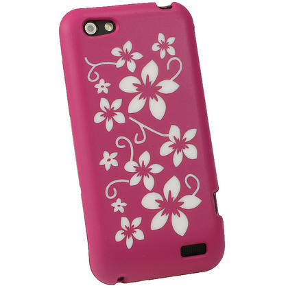 iGadgitz Pink & White Flowers Silicone Skin Case Cover for HTC One V Primo T320e + Screen Protector Thumbnail 3