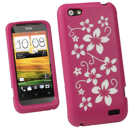 iGadgitz Pink & White Flowers Silicone Skin Case Cover for HTC One V Primo T320e + Screen Protector Thumbnail 1