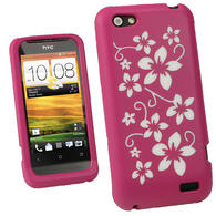 iGadgitz Pink & White Flowers Silicone Skin Case Cover for HTC One V Primo T320e + Screen Protector