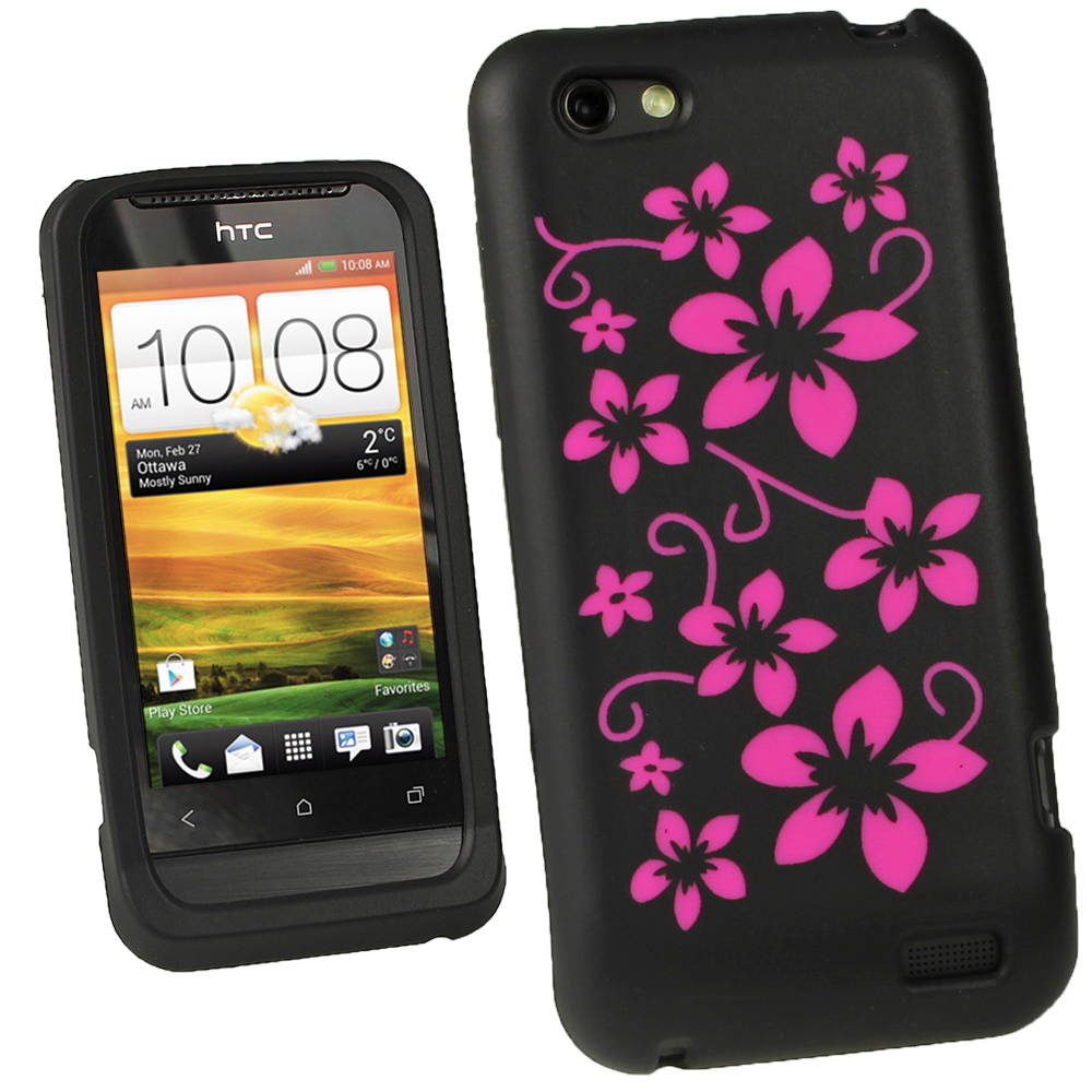 iGadgitz Black & Pink Flowers Silicone Skin Case Cover for HTC One V Primo T320e + Screen Protector