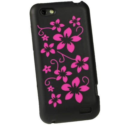 iGadgitz Black & Pink Flowers Silicone Skin Case Cover for HTC One V Primo T320e + Screen Protector Thumbnail 3