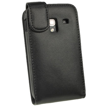 iGadgitz Black Leather Case Cover Holder for Samsung Galaxy Ace Plus + S7500 + Screen Protector Thumbnail 3