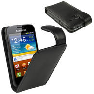 iGadgitz Black Leather Case Cover Holder for Samsung Galaxy Ace Plus + S7500 + Screen Protector