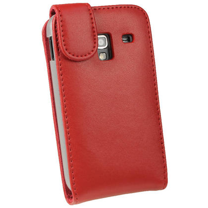 iGadgitz Red Leather Case Cover Holder for Samsung Galaxy Ace Plus + S7500 + Screen Protector Thumbnail 3