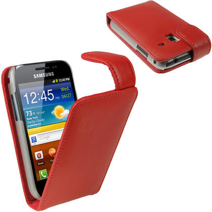 iGadgitz Red Leather Case Cover Holder for Samsung Galaxy Ace Plus + S7500 + Screen Protector Thumbnail 1