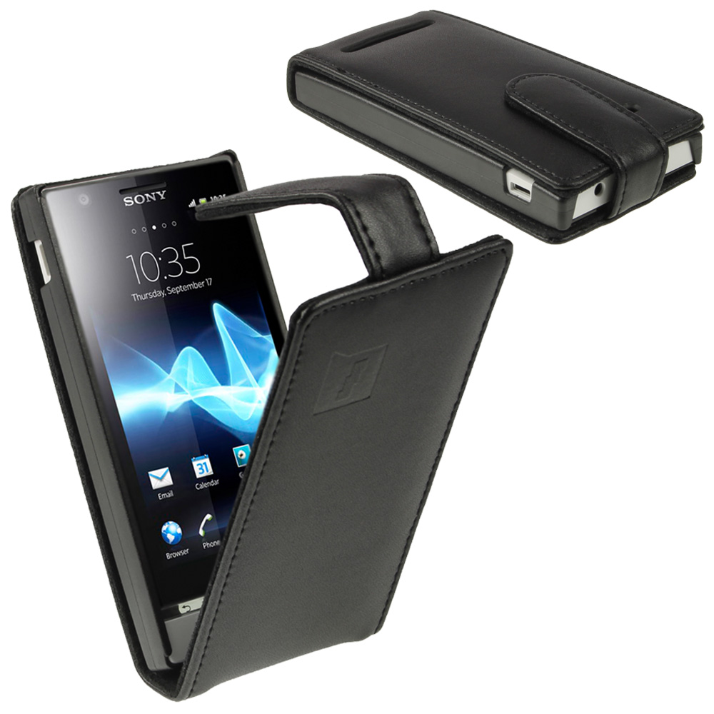 iGadgitz Black Leather Case Cover Holder for Sony Xperia U ST25i Android Smartphone Mobile Phone + Screen Protector