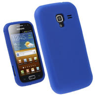 iGadgitz Blue Silicone Skin Case Cover for Samsung Galaxy Ace 2 I8160 Android Smartphone Mobile Phone + Screen Protector