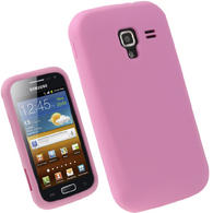 iGadgitz Pink Silicone Skin Case Cover for Samsung Galaxy Ace 2 I8160 Android Smartphone Mobile Phone + Screen Protector