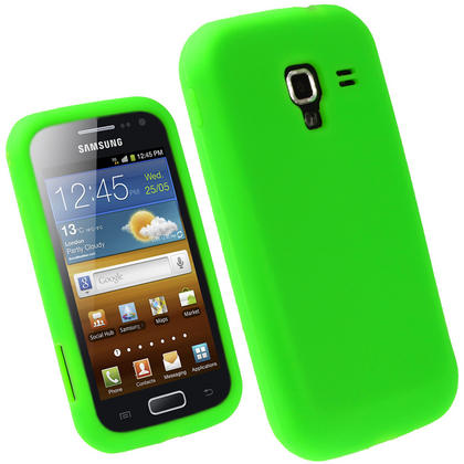 iGadgitz Green Silicone Skin Case Cover for Samsung Galaxy Ace 2 I8160 + Screen Protector Thumbnail 1
