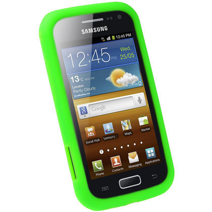 iGadgitz Green Silicone Skin Case Cover for Samsung Galaxy Ace 2 I8160 + Screen Protector Thumbnail 2