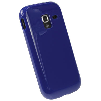 iGadgitz Blue Glossy Gel Case for Samsung Galaxy Ace 2 I8160 + Screen Protector Thumbnail 3