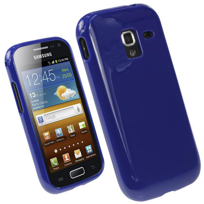 iGadgitz Blue Glossy Gel Case for Samsung Galaxy Ace 2 I8160 + Screen Protector Thumbnail 1