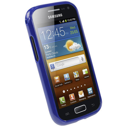 iGadgitz Blue Glossy Gel Case for Samsung Galaxy Ace 2 I8160 + Screen Protector Thumbnail 2