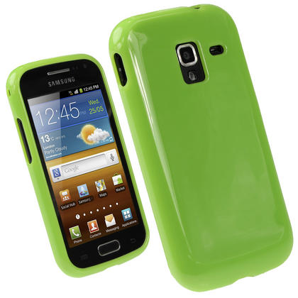 iGadgitz Green Glossy Gel Case for Samsung Galaxy Ace 2 I8160 + Screen Protector Thumbnail 1