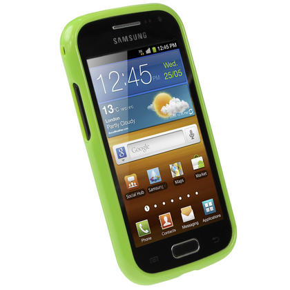 iGadgitz Green Glossy Gel Case for Samsung Galaxy Ace 2 I8160 + Screen Protector Thumbnail 2