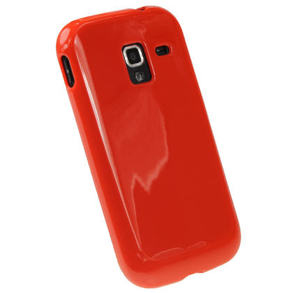 iGadgitz Red Glossy Gel Case for Samsung Galaxy Ace 2 I8160 + Screen Protector Thumbnail 3
