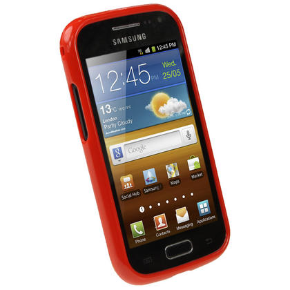 iGadgitz Red Glossy Gel Case for Samsung Galaxy Ace 2 I8160 + Screen Protector Thumbnail 2