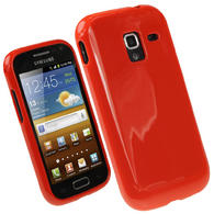 iGadgitz Red Glossy Gel Case for Samsung Galaxy Ace 2 I8160 + Screen Protector
