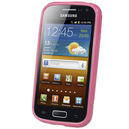 iGadgitz Dual Tone Pink Gel Case for Samsung Galaxy Ace 2 I8160 + Screen Protector Thumbnail 2
